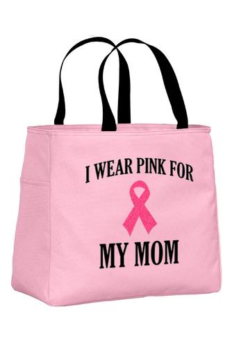 Pink Tote Bag with Black Wording