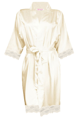 Blank Satin Robe with Matching Lace Trim