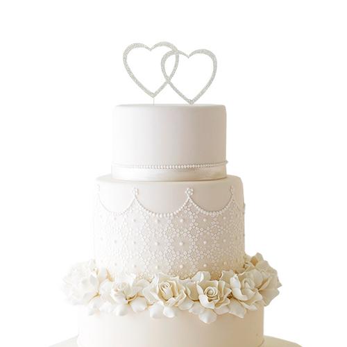 Double Hearts Rhinestone Cake Topper