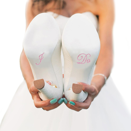 I Do Shoe Stickers for Bridal Shoes - Light Pink