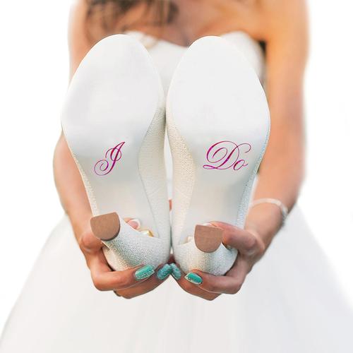 I Do Wedding Shoe Stickers in Fuchsia Hologram