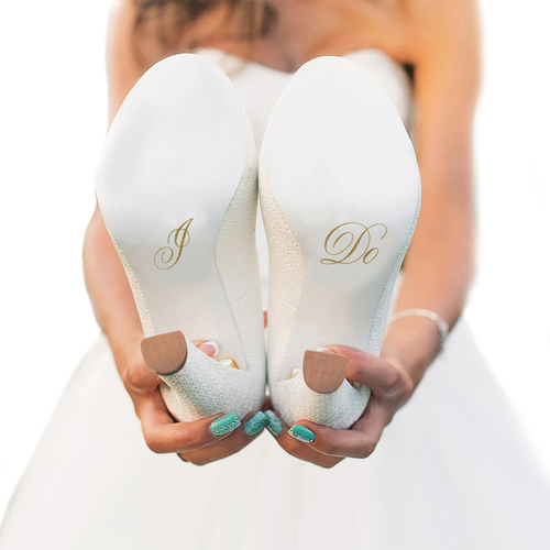 I Do Wedding Shoe Stickers in Gold Glitter