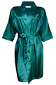 Embroidered Satin Robe with Initial