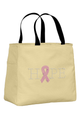 Stone Tote Bag with Pink Ribbon