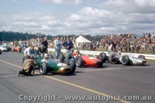 64543 - Jack Brabham Brabham BT7A / Graham Hill Brabham BT4 1964 / Frank Matich Brabham BT7A - Tasman Series Longford 1964 - Photographer Laurie Johnson