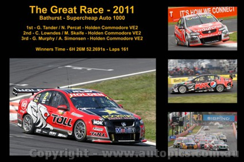 642 - The Great Race 2011 - A collage of 4 photos showing the first three place getters from  Bathurst 2011 with winners time and laps completed.