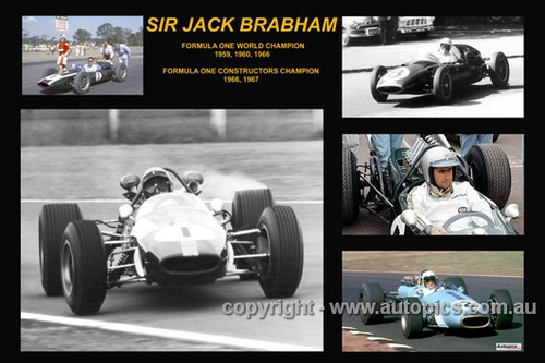 381 - Jack Brabham - A collage of a few of the cars he drove during his career