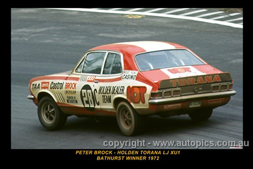 Peter Brock, Holden Torana LJ XU1 - Bathurst Winner 1972 - Printed with a black border and a caption describing the photo.