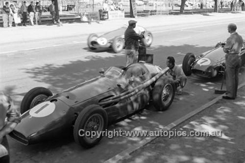 56510 - Car #1 Jean Behra & Car #7 Stirling Moss - Maserati 250F - Albert Park 1956 -  Photographer Peter D'Abbs