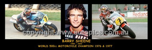 345 - Barry Sheene - World Champion 1976 & 1977 - A Panoramic Photo 30x10inches.