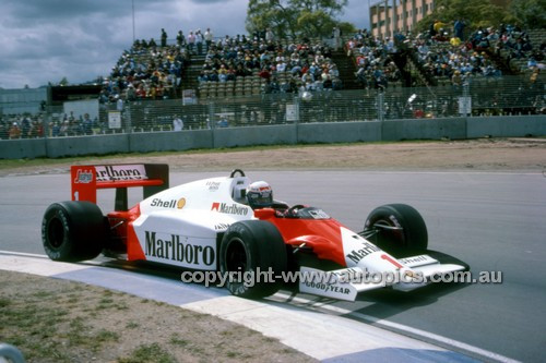 86530 - Alain Prost  McLaren-TAG - Winner of the AGP Adelaide 1986 - Photographer Ray Simpson