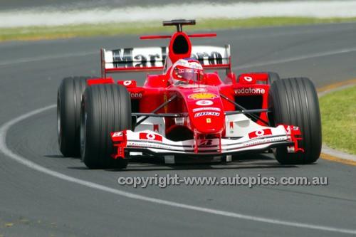 204503 - Rubens Barrichello  Ferrari - 2nd Place Australian Grand Prix Albert Park 2004 - Photographer Marshall Cass