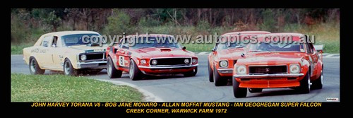 328 - Harvey Torana, Jane Monaro,  Moffat Mustang & Geoghegan  Falcon - Warwick Farm 1972 - A Panoramic Photo 30x10inches.