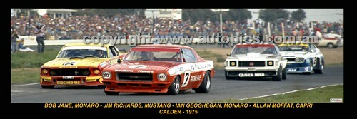 329 - Jane Monaro, Richards Mustang, Geoghegan Monaro &  Moffat Capri - Calder 1975 - A Panoramic Photo 30x10inches.