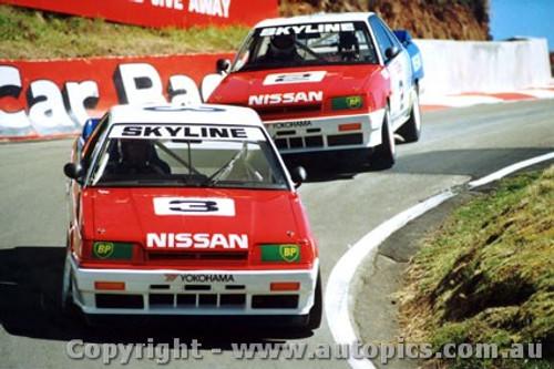 89711  -  Fury / Olofsson & Richards / Skaife    Bathurst 1989  Nissan Skylines Through The Dipper - Photographer Lance J Ruting