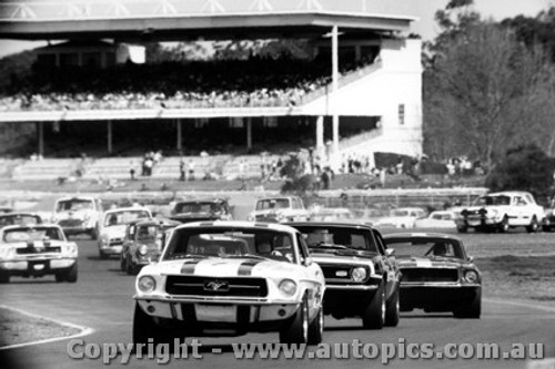 68036 - First Lap Warwick Farm 1968 - Geoghgean Mustang - Beechey Camaro - Jane Mustang