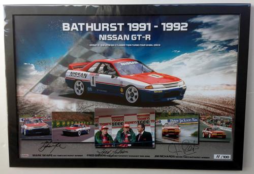 $295 - Nissan GT-R Bathurst Winner 1991 & 1992 - Signed and Framed