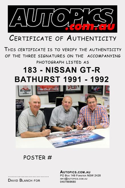 $95 - Nissan GT-R Bathurst 1000 Winner 1991 & 1992 - Signed By Mark Skaife, Jim Richards & Fred Gibson