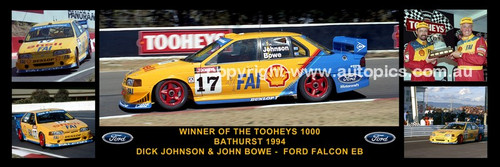 178 - Dick Johnson & John Bowe, Falcon EB - Bathurst Winner 1994 -  A Panoramic Photo 30x10 inches.