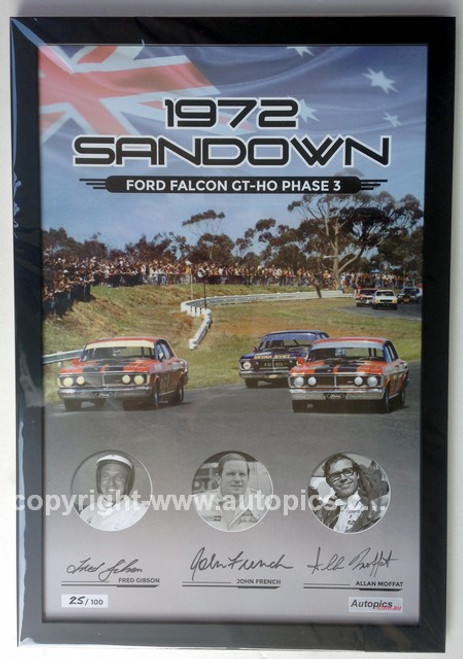 181F -  Falcon XY GTHO Framed Poster - Sandown 1972 - Personally Signed By Allan Moffat, John French & Fred Gibson