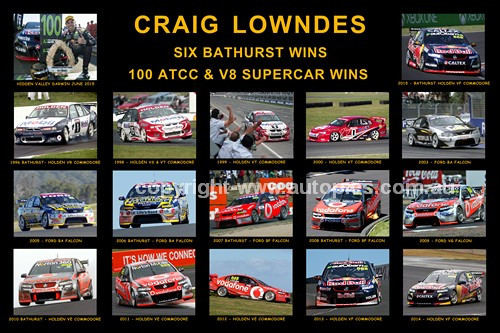 186 - Craig Lowndes - A collage of 15 photos showing his six Bathurst wins and a selection of his 100 ATCC wins.
