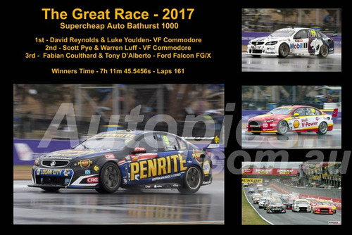 648 - The Graet Race 2017 - A collage of 4 photos showing the first three place getters from  Bathurst 2013 with winners time and laps completed.