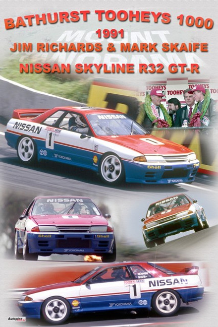 1173 - A collage of the 1991 Bathurst wining Nissan Skyline R32 GT-R
