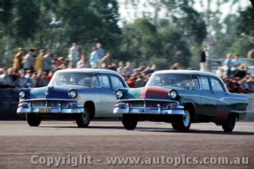 65906 - Bruce McLeod & Ron Ferguson, Ford Customline - NSW Drag Champoinships Castlereagh June 1965 - Photographer Richard Austin