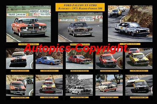 485 - Ford Falcon XY GTHO Bathurst 1971 Hardie-Ferodo - A collection of every Falcon XY GTHO to run in the 1971 Bathurst. Available in 18x12 inches or 20x30 inches - Printed on photographic paper not poster paper