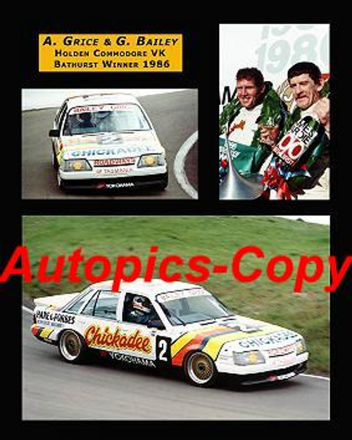 470  - A. Grice/ G. Bailey  - Holden Commodore VK  - A collection of three photos - 1986 Bathurst winners
