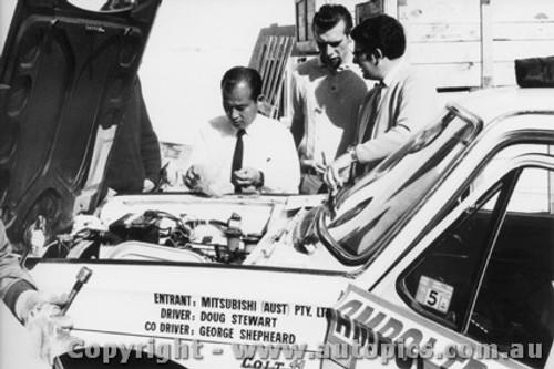 70962 - D. Stewart and G. Shepherd -  Mitsubishi Colt - Ampol Trial 1970