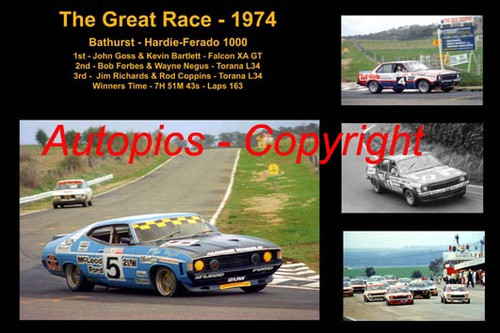 605 - The Great Race 1974 - A collage of the first three place getters from  Bathurst 1974 with winners time and laps completed. Goss / Bartlett Falcon XA GT - Forbes / Negus Torana L34 - Richards / Coppins Toran L34