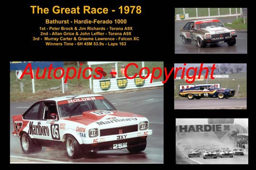 609 - The Great Race 1978 - A collage of the first three place getters from  Bathurst 1978 with winners time and laps completed. Brock / Richards Torana A9X - Grice / Leffler Torana A9X - Carter / Lawrence Falcon XC