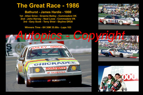 617 - The Great Race 1986 - A collage of the first three place getters from  Bathurst 1986 with winners time and laps completed.