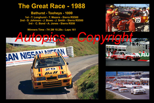 619 - The Great Race 1988 - A collage of the first three place getters from  Bathurst 1988 with winners time and laps completed.