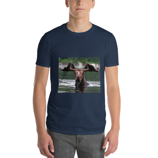 """""""Smiling Snacking Moose"""" Adult Unisex Short-Sleeve T-Shirt """"Just Smile"""" Collection - Dennis' Secret Pond, Maine"""