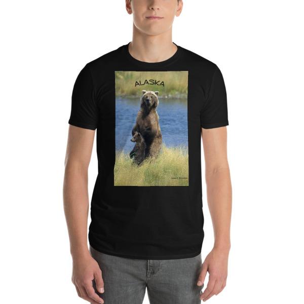 """Just Looking"" - Grizzly Bear Mother and Cub  Adult Unisex Short-Sleeve T-Shirt Katmai, Alaska"