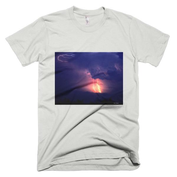 """Bolt"" Lightening Storm  Adult Unisex Short-Sleeve T-Shirt - Great Smokey Mountains, North Carolina"