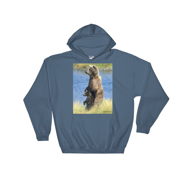 """Just Looking"" - Grizzly Bear Mother and Cub Hooded Sweatshirt Katmai, Alaska"