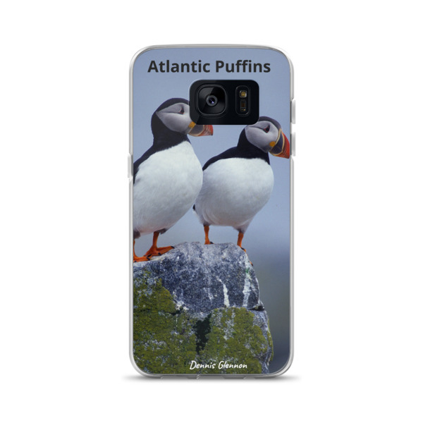 """Taking in the View"" Atlantic Puffins Samsung Phone Case - One of Dennis' Secret Spots, Maine"