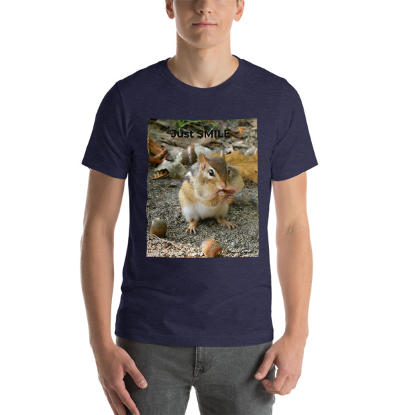 """Chubby Chipmunk""  Adult Unisex Short-Sleeve T-Shirt ""Just SMILE Collection"" - North Woods, Maine"