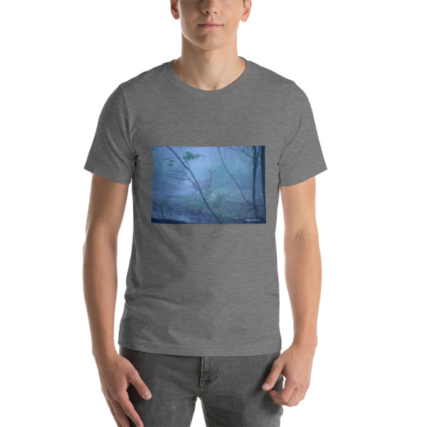 """Doe in the Fog""  Adult Unisex Short-Sleeve T-Shirt - The Great Swamp, Basking Ridge, NJ"