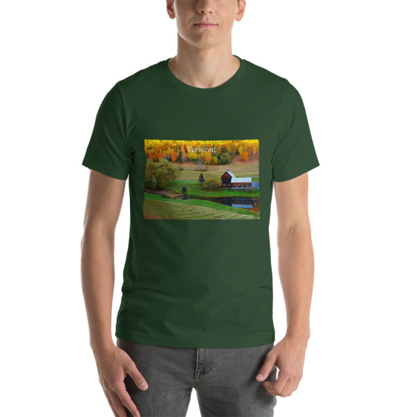 """Rustic Beauty""  Adult Unisex Short-Sleeve T-Shirt Classic Vermont Barn in Fall - Woodstock, Vermont"