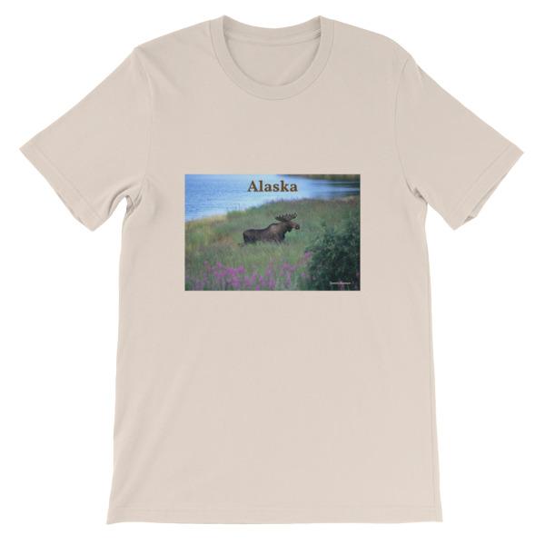 """Fireweed Moose"" Young Bull Moose Fireweed Field  Adult Unisex Short-Sleeve T-Shirt - Katmai, Alaska"