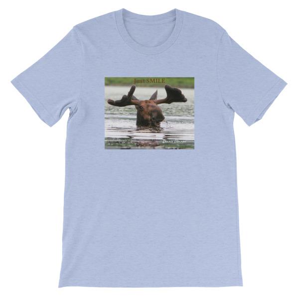 """Smiling Moose""  Adult Unisex Short-Sleeve T-Shirt ""Just Smile"" Collection - Photographed From Kayak in Dennis' Secret Pond, Maine"