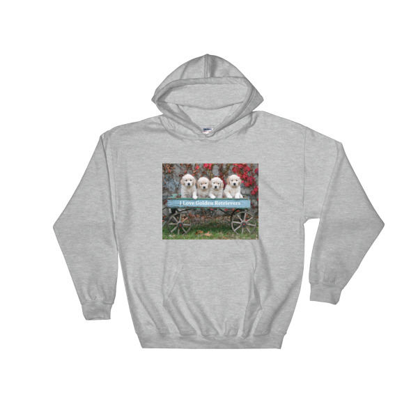 """Rustic Wagon Pups"" Golden Retriever Puppies Hooded Sweatshirt"