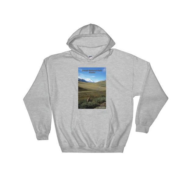 """Zen Grizzly"" Hooded Grizzly Bear Sweatshirt - Mt. McKinley, Denali National Park, Alaska"