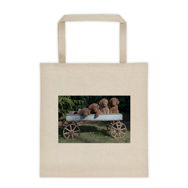 """Chessies On The Wagon"" Roomy Square Bottom Tote Bag Chesapeake Bay Retriever Puppies"