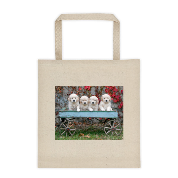 """Rustic Wagon Pups"" Golden Retriever Puppies Roomy Square Bottom Tote Bag"