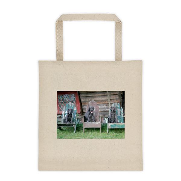 """Farmhouse Puppy Trio"" Blue Great Dane Pups Enjoying The Day Roomy Square Bottom Tote Bag"